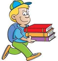 Cartoon Boy Carrying Books vector image vector image