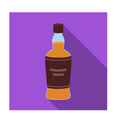 bottle of scottish whiskey icon in flat style vector image