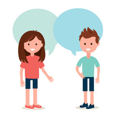 boy and girl talking to each other conversation vector image vector image