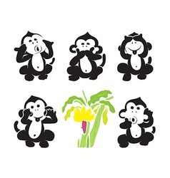 group of monkeys and bananas vector image vector image