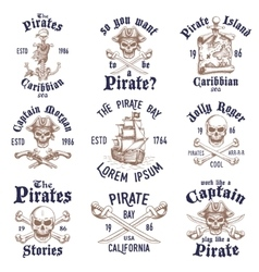 Set of vintage hand drawn pirates designed emblems vector image vector image