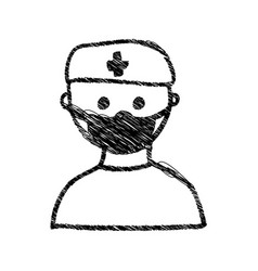 Silhouette drawing half body doctor with mask vector