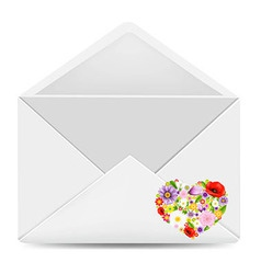 White Envelope With Flowers Heart vector image