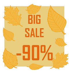 a discount of ninety percent surrounded by autumn vector image vector image