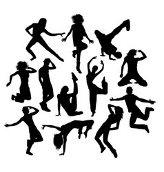 cool dance silhouettes vector image vector image