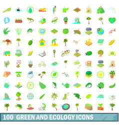 100 green and ecology icons set cartoon style vector image