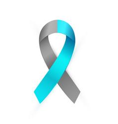 3d gray and blue awareness ribbon diabetes type 1 vector image