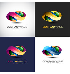 abstract 3d infinity logo template for your vector image