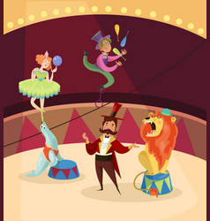 Artists on circus stage lion tamer juggler vector