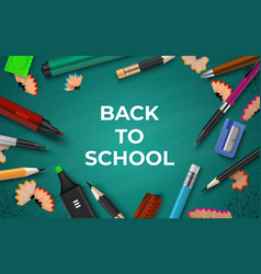 back to school background realistic stationery on vector image