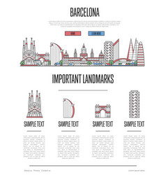Barcelona travel infographics in linear style vector
