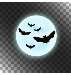 Bats with moon Halloween vector