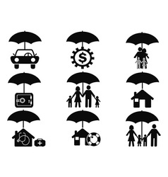 black insurance icons set with umbrella vector image