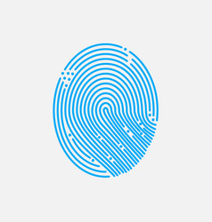 blue fingerprint shape vector image