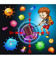 Boy fighting with bacteria vector