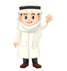 boy in kuwait costume waving hand vector image