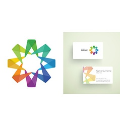 Business card with abstract colorful element vector image