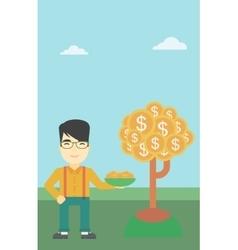 Businessman catching dollar coins vector