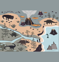 cartoon kids playmat with dinosaur palm and vector image