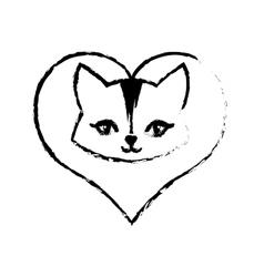 cat animal domestic furry love sketch vector image