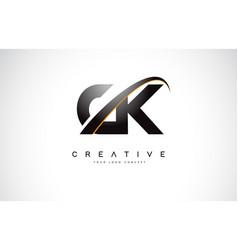 Ck c k swoosh letter logo design with modern vector