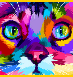 close up of colorful eyes cat vector image