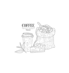 Coffee Cup To Go Cheesecake And Bag With Beans vector
