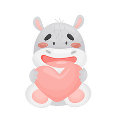 Cute enamored hippo on white vector