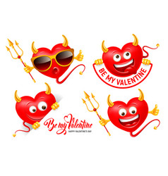 devil heart set with horn tail trident vector image