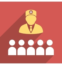 Doctor Class Flat Square Icon with Long Shadow vector image