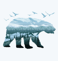 Double exposure bear and animal wildlife vector