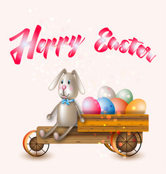Easter bunny by car vector