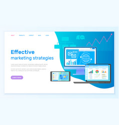 effective marketing strategies landing page with vector image
