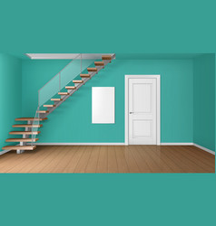 empty room with staircase and white closed door vector image