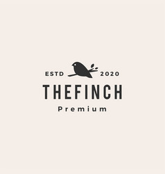 finch bird hipster vintage logo icon vector image