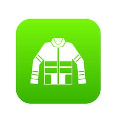 Firefighter jacket icon digital green vector