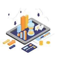 flat 3d isometric business finance analytics vector image