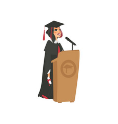 Flat girl graduate in gown cap vector