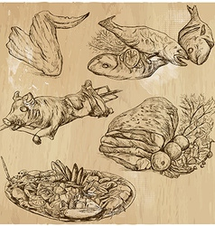 Food around the World hand drawn set vector