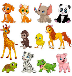 funny animals set vector image