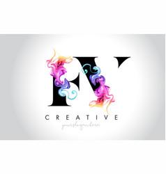 Fv vibrant creative leter logo design with vector