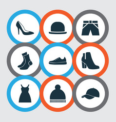 garment icons set collection of trunks cloth vector image
