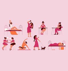 Girl everyday activities set vector