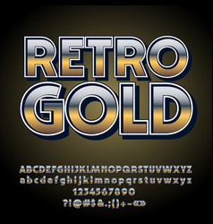 gradient retro styled gold alphabet vector image