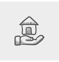 Hand owned the house sketch icon vector image