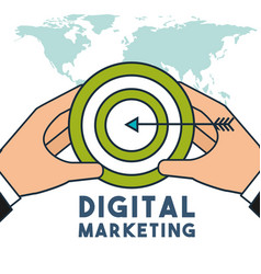 hands holding target strategy business digital vector image
