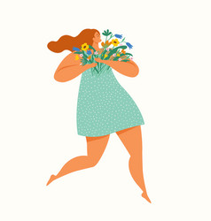 happy girl running with a bouquet flowers vector image