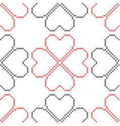 Hearts geometric background imitation cross vector