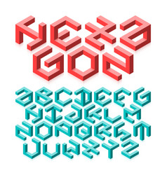 Hexagon alphabet made of impossible shapes vector