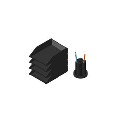 isolated paper tray isometric desk file rack vector image